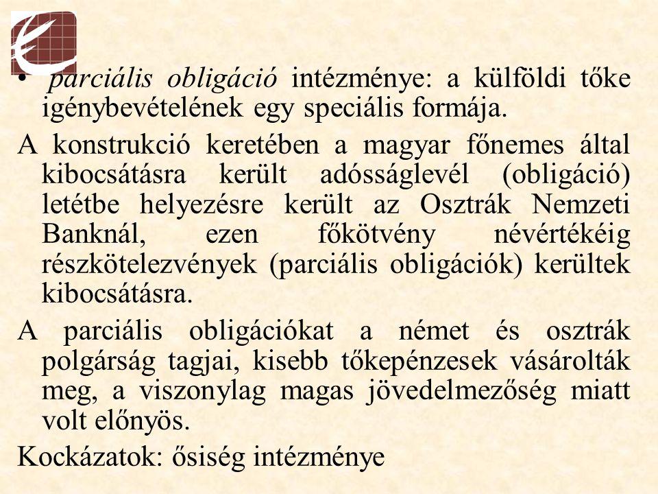 parciális obligáció intézménye: a külföldi tőke igénybevételének egy speciális formája. A konstrukció keretében a magyar főnemes által kibocsátásra ke