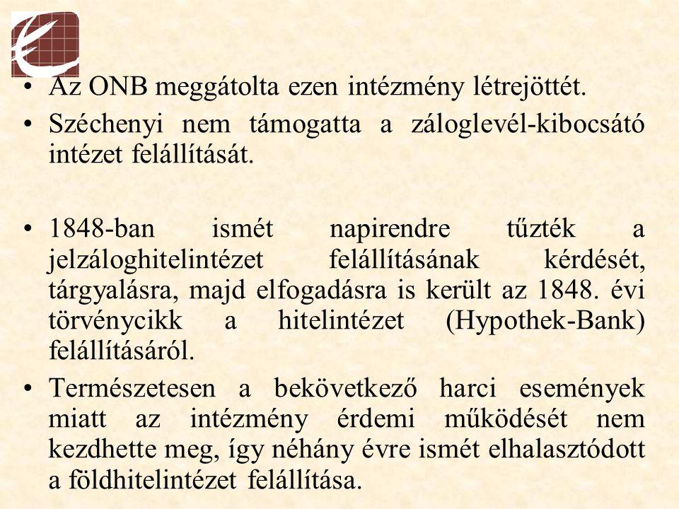 Az ONB meggátolta ezen intézmény létrejöttét. Széchenyi nem támogatta a záloglevél-kibocsátó intézet felállítását. 1848-ban ismét napirendre tűzték a