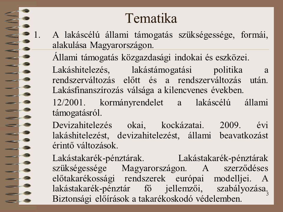3 Tematika 1.A lakáscélú állami támogatás szükségessége, formái, alakulása Magyarországon.