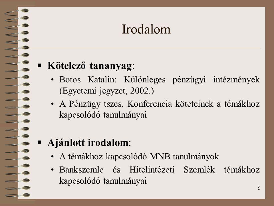 6 Irodalom  Kötelező tananyag: Botos Katalin: Különleges pénzügyi intézmények (Egyetemi jegyzet, 2002.) A Pénzügy tszcs.