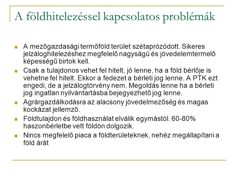 26/35 A földhitelezéssel kapcsolatos problémák A mezőgazdasági termőföld terület szétaprózódott.