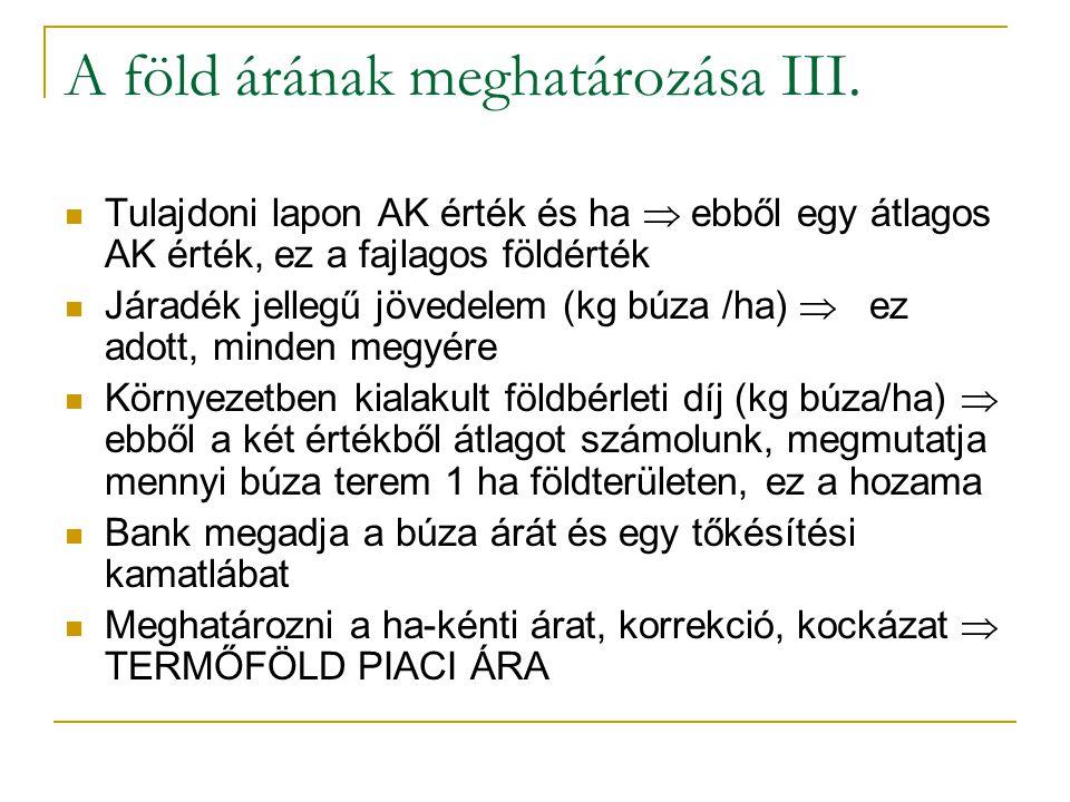 47/35 A föld árának meghatározása III.