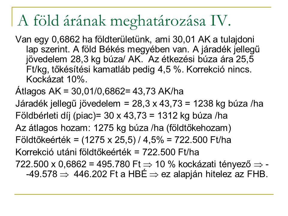 48/35 A föld árának meghatározása IV.