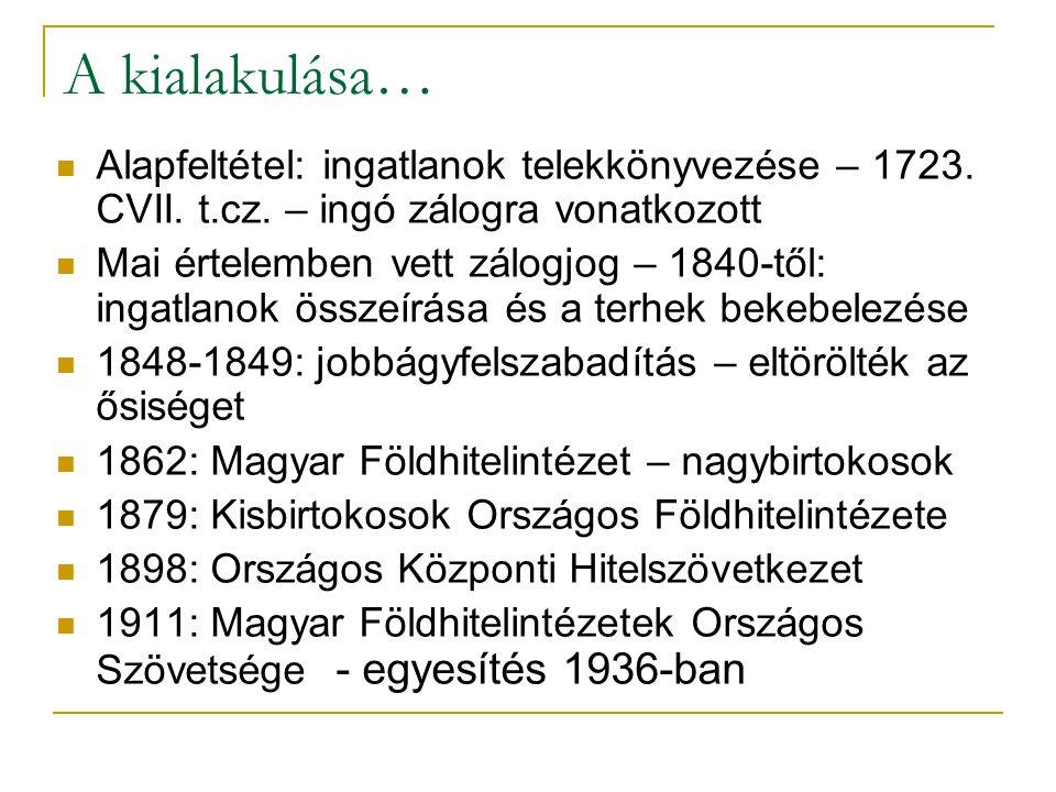 6/35 Jelzáloghitelezés régen Elsősorban földhitelezést jelentett Föld fogalma: mezőgazdasági földterület és annak művelése Városiasodás és lakásépítés igénye Nem volt olyan intézet, mely városi ingatlanokra történő hitelfolyósítással foglalkozott volna Ipari vállalatoknak: Országos Magyar Ipari Jelzálogintézet