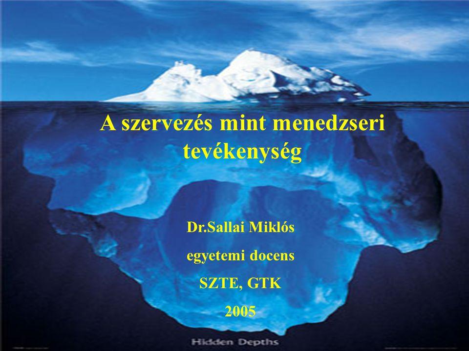 A szervezés mint menedzseri tevékenység Dr.Sallai Miklós egyetemi docens SZTE, GTK 2005