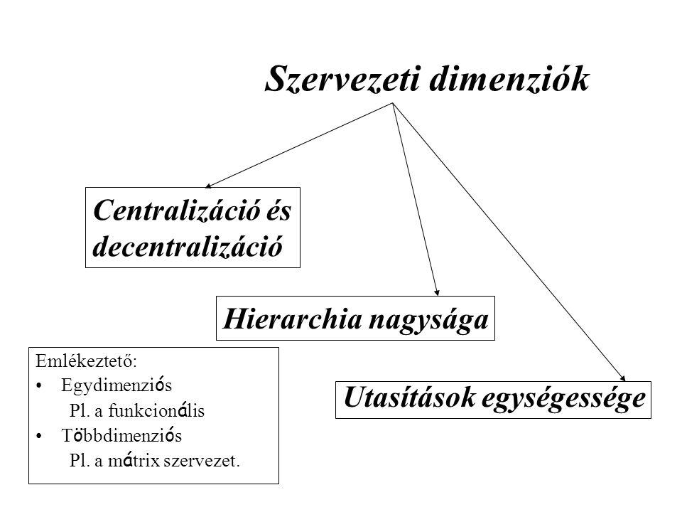 Szervezeti dimenziók Centralizáció és decentralizáció Hierarchia nagysága Utasítások egységessége Emlékeztető: Egydimenzi ó s Pl. a funkcion á lis T ö