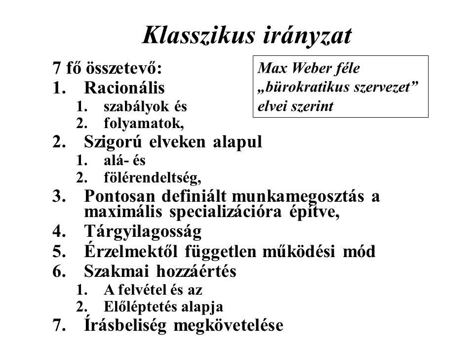 Klasszikus irányzat 7 fő összetevő: 1.Racionális 1.szabályok és 2.folyamatok, 2.Szigorú elveken alapul 1.alá- és 2.fölérendeltség, 3.Pontosan definiál