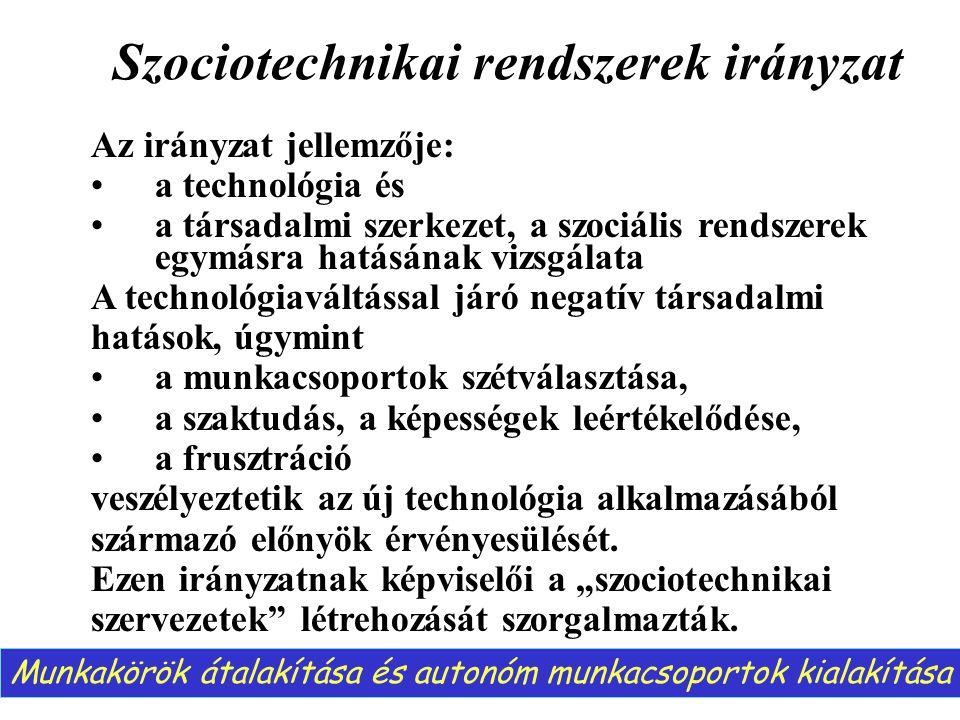 Szociotechnikai rendszerek irányzat Az irányzat jellemzője: a technológia és a társadalmi szerkezet, a szociális rendszerek egymásra hatásának vizsgál