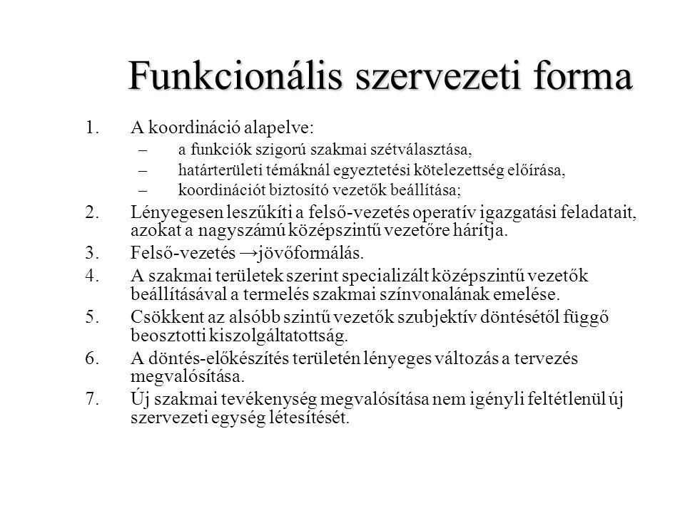 Funkcionális szervezeti forma 1.A koordináció alapelve: –a funkciók szigorú szakmai szétválasztása, –határterületi témáknál egyeztetési kötelezettség