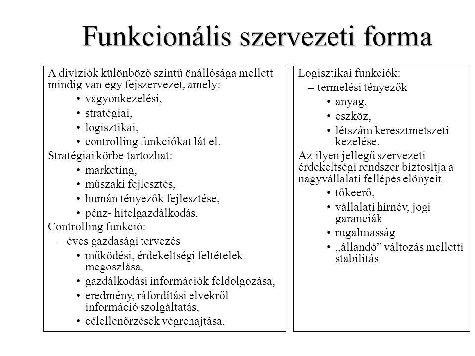 Funkcionális szervezeti forma A divíziók különböző szintű önállósága mellett mindig van egy fejszervezet, amely: vagyonkezelési, stratégiai, logisztik