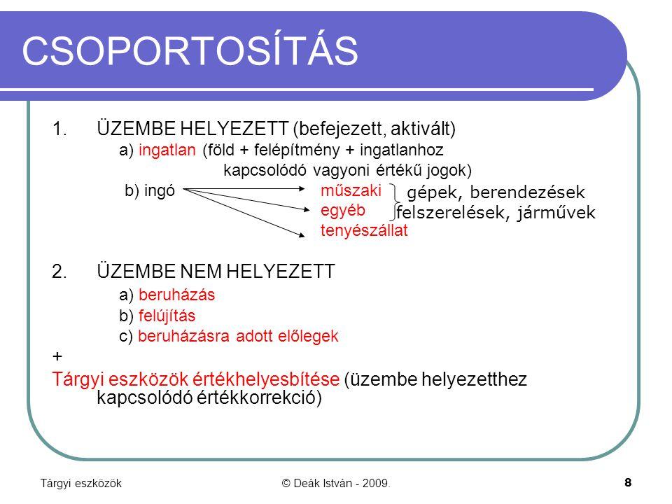 Tárgyi eszközök© Deák István - 2009.49 Szállító könyvelése Értékesítés (lízingbe adónak) 31.