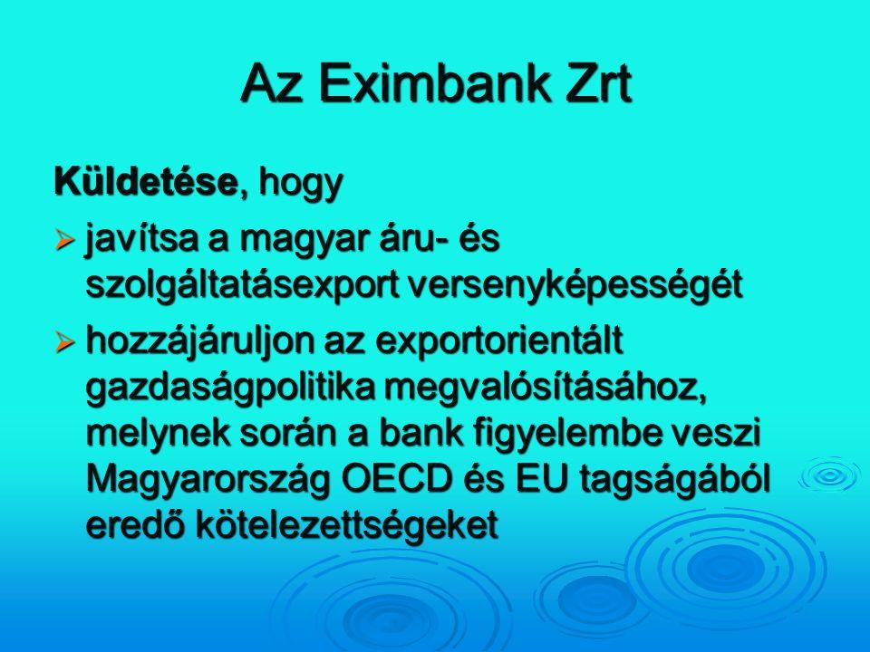 Az Eximbank Zrt Küldetése, hogy  javítsa a magyar áru- és szolgáltatásexport versenyképességét  hozzájáruljon az exportorientált gazdaságpolitika me