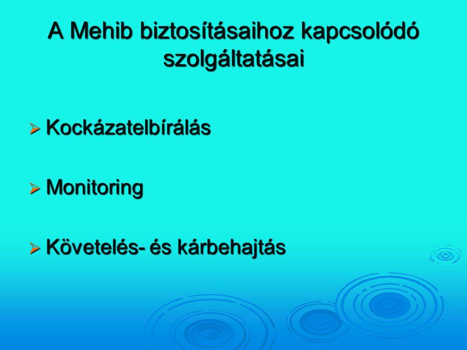 A Mehib biztosításaihoz kapcsolódó szolgáltatásai  Kockázatelbírálás  Monitoring  Követelés- és kárbehajtás