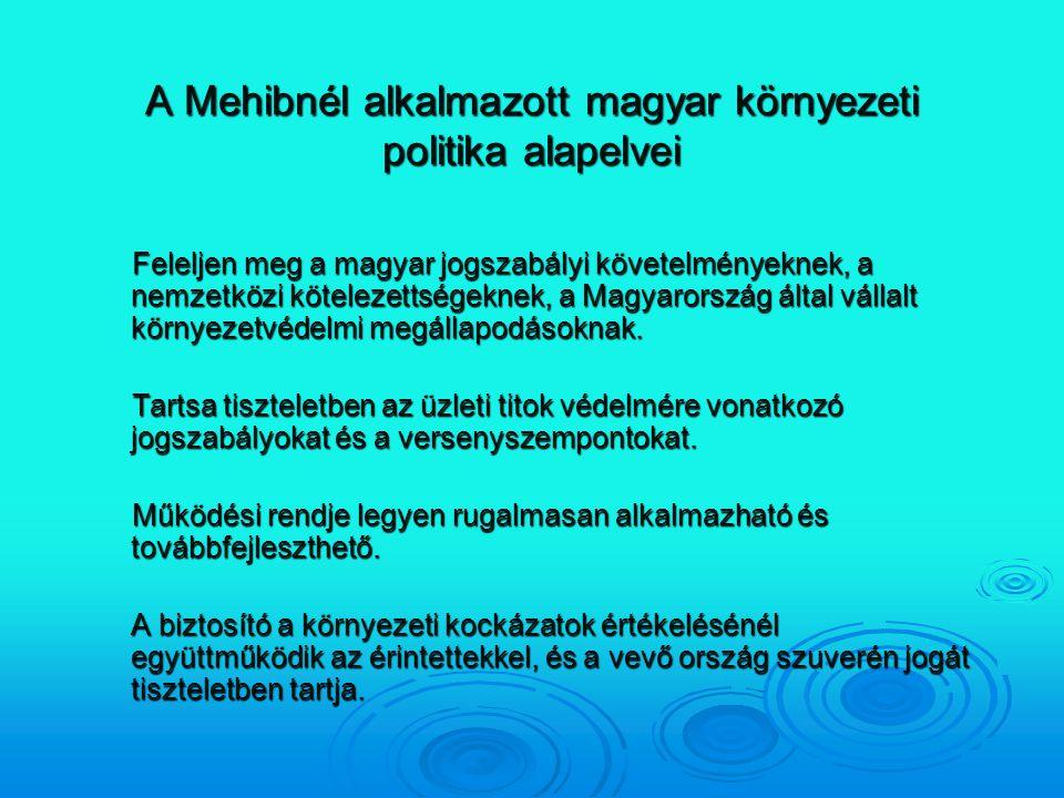 A Mehibnél alkalmazott magyar környezeti politika alapelvei Feleljen meg a magyar jogszabályi követelményeknek, a nemzetközi kötelezettségeknek, a Mag