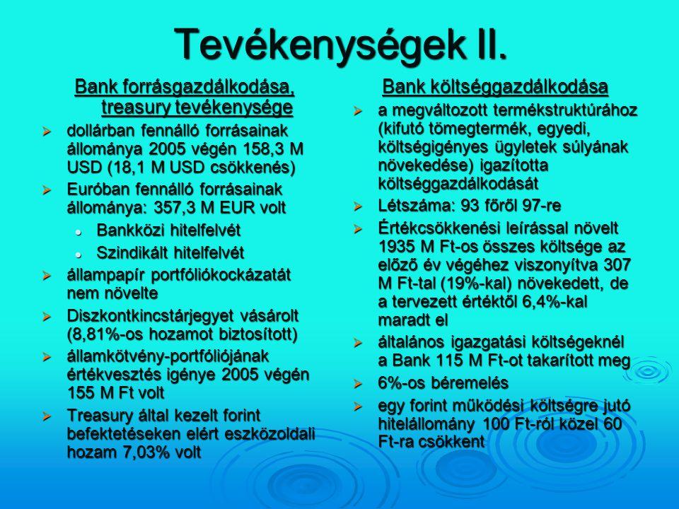 Tevékenységek II. Bank forrásgazdálkodása, treasury tevékenysége  dollárban fennálló forrásainak állománya 2005 végén 158,3 M USD (18,1 M USD csökken