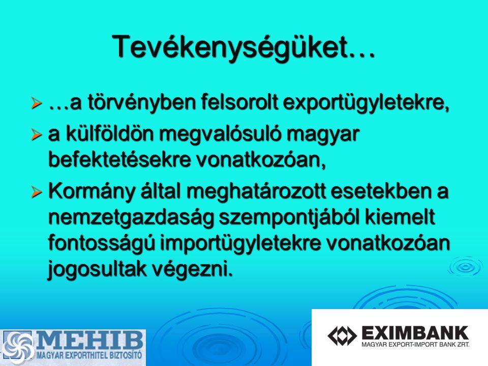 Tevékenységüket…  …a törvényben felsorolt exportügyletekre,  a külföldön megvalósuló magyar befektetésekre vonatkozóan,  Kormány által meghatározot
