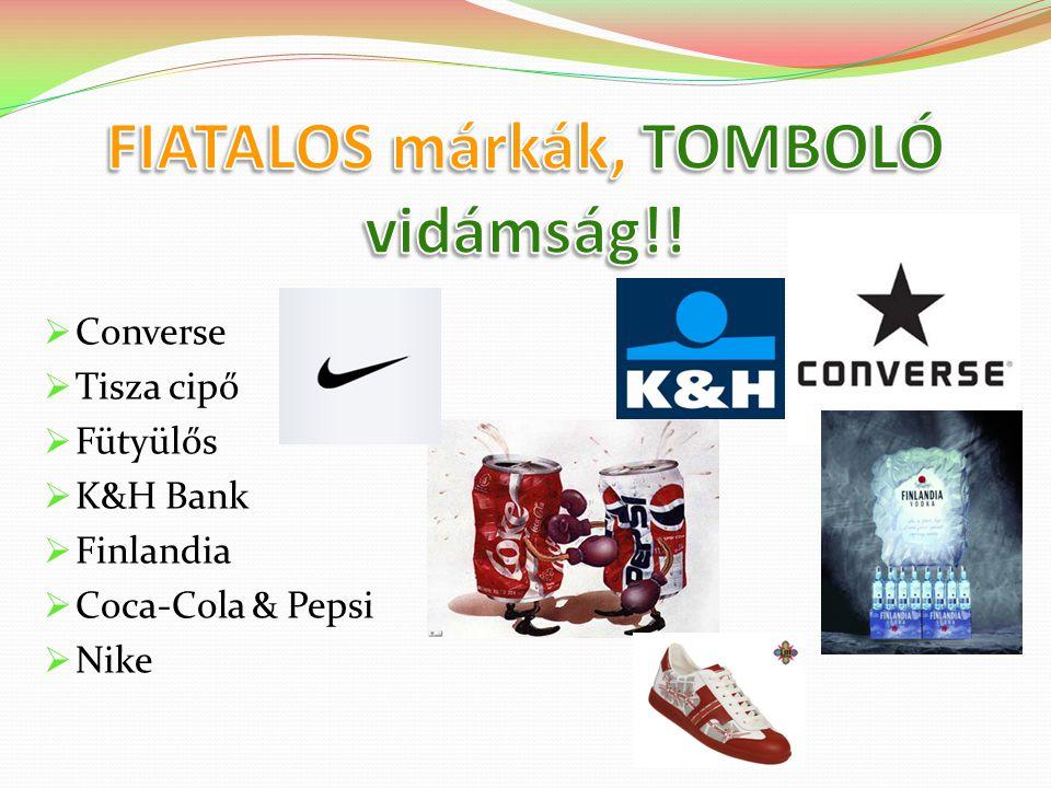  Converse  Tisza cipő  Fütyülős  K&H Bank  Finlandia  Coca-Cola & Pepsi  Nike
