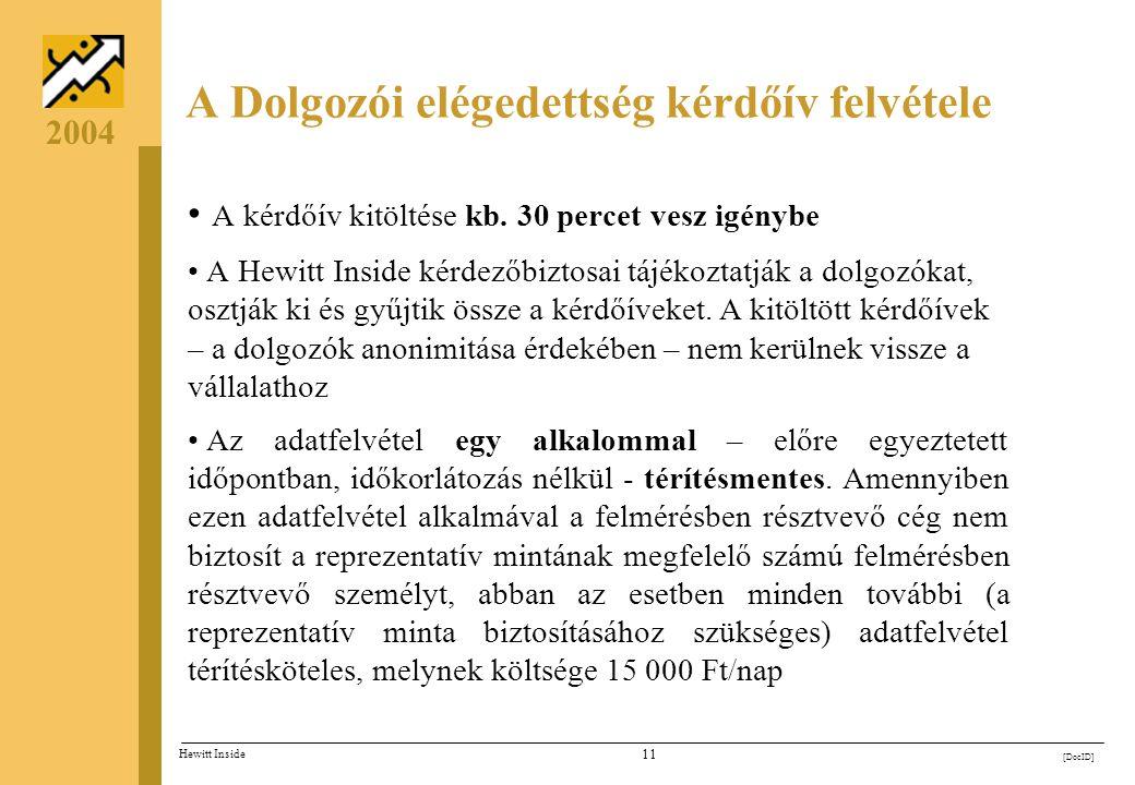 10 [DocID] Hewitt Inside 2004 Reprezentatív mintavétel Teljes munkaidős alkalmazottak száma Minta nagysága* 100 főTeljes körű 200 fő132 fő 300 fő169 f