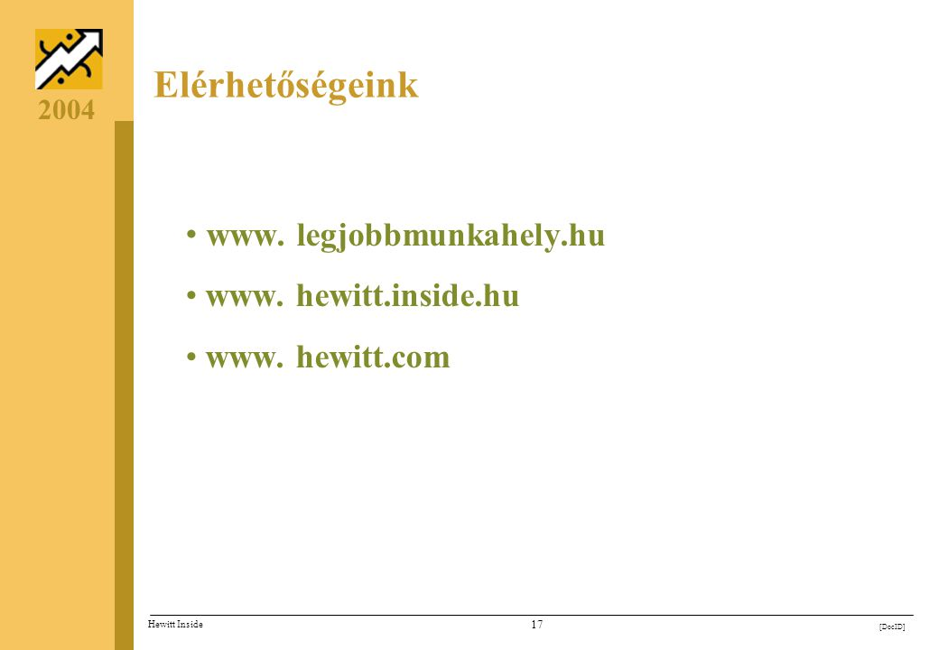 16 [DocID] Hewitt Inside 2004 Legjobb Munkahely konferencia A Legjobb Munkahelyek bemutatkozása - díjátadó Mitől jobbak a Legjobbak? - a munkaadói kiv