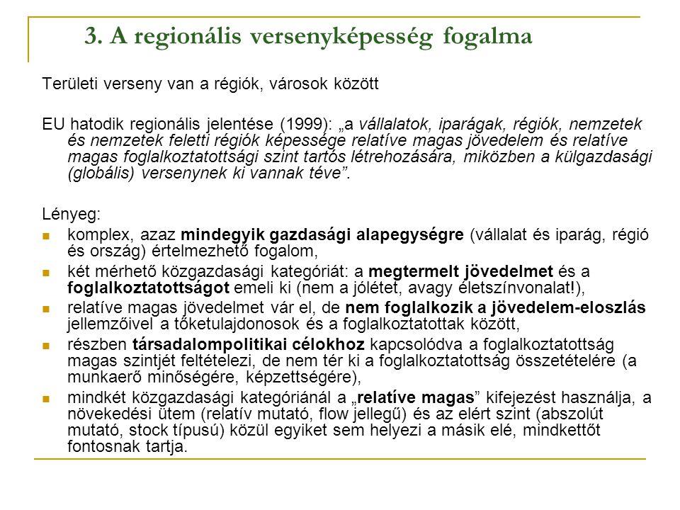 """3. A regionális versenyképesség fogalma Területi verseny van a régiók, városok között EU hatodik regionális jelentése (1999): """"a vállalatok, iparágak,"""