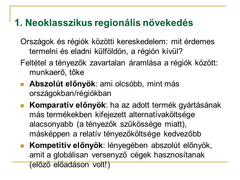 1. Neoklasszikus regionális növekedés Országok és régiók közötti kereskedelem: mit érdemes termelni és eladni külföldön, a régión kívül? Feltétel a té