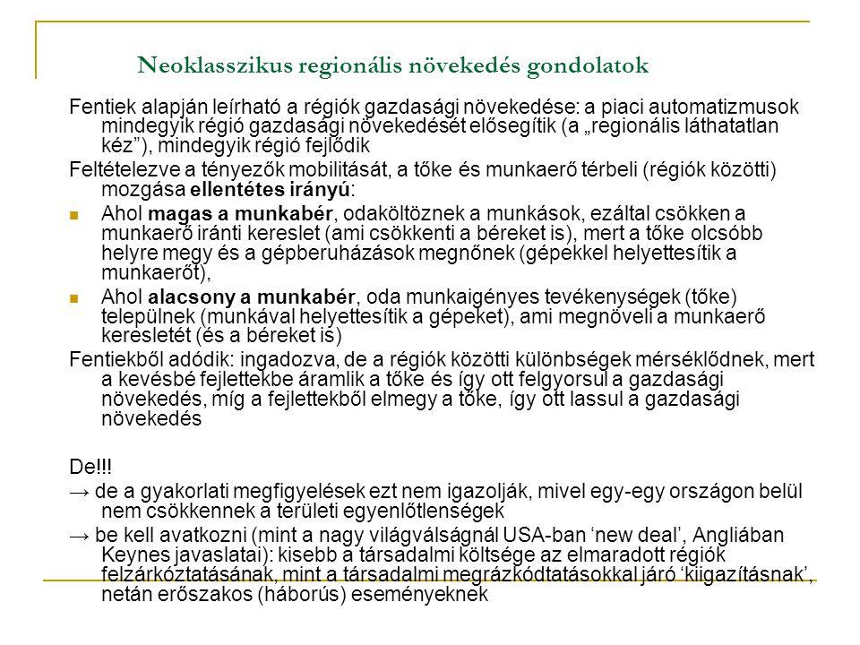 """Neoklasszikus regionális növekedés gondolatok Fentiek alapján leírható a régiók gazdasági növekedése: a piaci automatizmusok mindegyik régió gazdasági növekedését elősegítik (a """"regionális láthatatlan kéz ), mindegyik régió fejlődik Feltételezve a tényezők mobilitását, a tőke és munkaerő térbeli (régiók közötti) mozgása ellentétes irányú: Ahol magas a munkabér, odaköltöznek a munkások, ezáltal csökken a munkaerő iránti kereslet (ami csökkenti a béreket is), mert a tőke olcsóbb helyre megy és a gépberuházások megnőnek (gépekkel helyettesítik a munkaerőt), Ahol alacsony a munkabér, oda munkaigényes tevékenységek (tőke) települnek (munkával helyettesítik a gépeket), ami megnöveli a munkaerő keresletét (és a béreket is) Fentiekből adódik: ingadozva, de a régiók közötti különbségek mérséklődnek, mert a kevésbé fejlettekbe áramlik a tőke és így ott felgyorsul a gazdasági növekedés, míg a fejlettekből elmegy a tőke, így ott lassul a gazdasági növekedés De!!."""