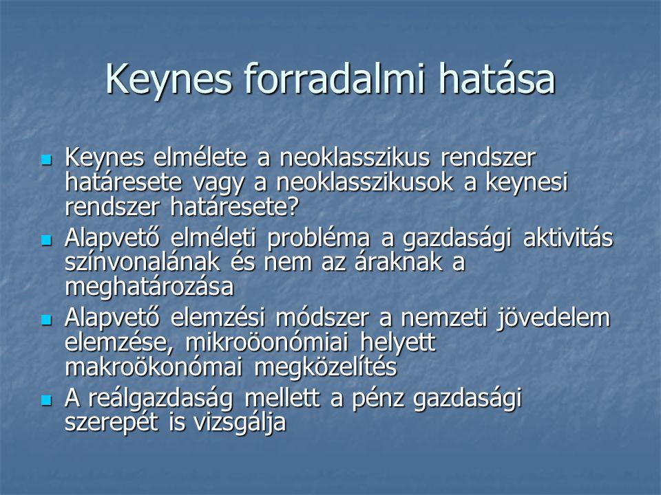 Keynes forradalmi hatása Keynes elmélete a neoklasszikus rendszer határesete vagy a neoklasszikusok a keynesi rendszer határesete.