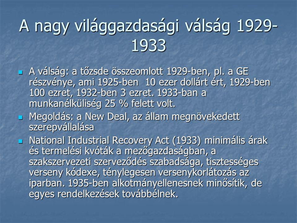 A nagy világgazdasági válság 1929- 1933 Social Security Act (1935): öregségi és betegbiztosítás bevezetése Social Security Act (1935): öregségi és betegbiztosítás bevezetése Fair Labor Standards Act (1938): minimumbérek, 40 órás munkahét Fair Labor Standards Act (1938): minimumbérek, 40 órás munkahét Employment Act (1946): az állam felelősségét állapítja meg a munkahelyteremtésben Employment Act (1946): az állam felelősségét állapítja meg a munkahelyteremtésben