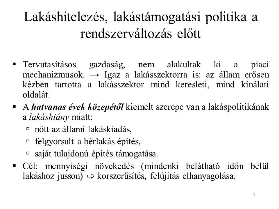 8  Támogatási formák:  Kamattámogatás (hitelkamat 1-6%)  Állami bérlakásépítés  Lakásszövetkezet, OTP társasház program  Vállalati lakásépítési program  Szoc.pol.