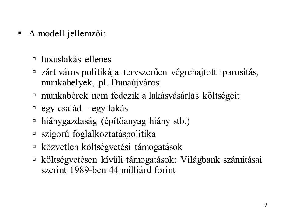9  A modell jellemzői:  luxuslakás ellenes  zárt város politikája: tervszerűen végrehajtott iparosítás, munkahelyek, pl. Dunaújváros  munkabérek n
