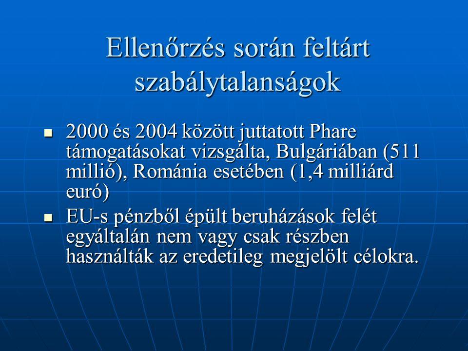 Ellenőrzés során feltárt szabálytalanságok 2000 és 2004 között juttatott Phare támogatásokat vizsgálta, Bulgáriában (511 millió), Románia esetében (1,4 milliárd euró) 2000 és 2004 között juttatott Phare támogatásokat vizsgálta, Bulgáriában (511 millió), Románia esetében (1,4 milliárd euró) EU-s pénzből épült beruházások felét egyáltalán nem vagy csak részben használták az eredetileg megjelölt célokra.