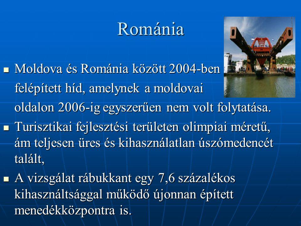 Románia Moldova és Románia között 2004-ben Moldova és Románia között 2004-ben felépített híd, amelynek a moldovai oldalon 2006-ig egyszerűen nem volt folytatása.