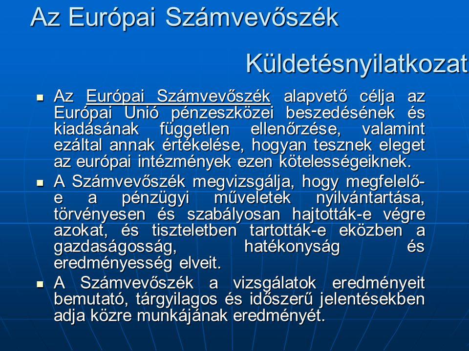 Az Európai Számvevőszék Az Európai Számvevőszék alapvető célja az Európai Unió pénzeszközei beszedésének és kiadásának független ellenőrzése, valamint ezáltal annak értékelése, hogyan tesznek eleget az európai intézmények ezen kötelességeiknek.