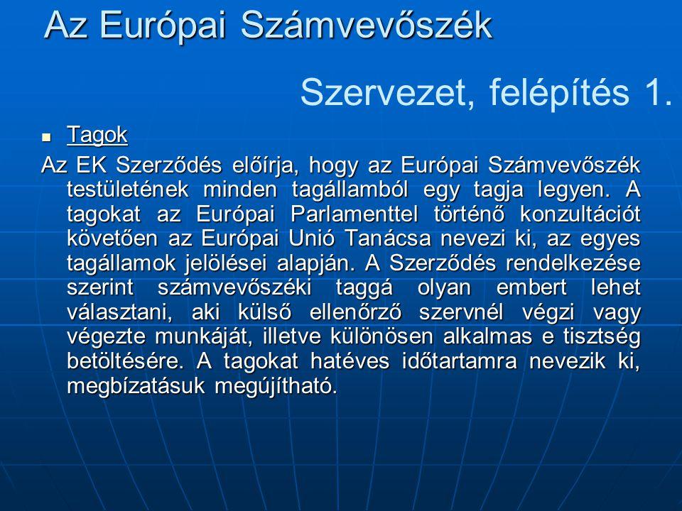 Elnök: Az Európai Számvevőszék élén elnök áll, akit a tagok saját maguk közül választanak.