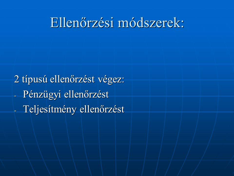 Ellenőrzési módszerek: 2 típusú ellenőrzést végez: - Pénzügyi ellenőrzést - Teljesítmény ellenőrzést