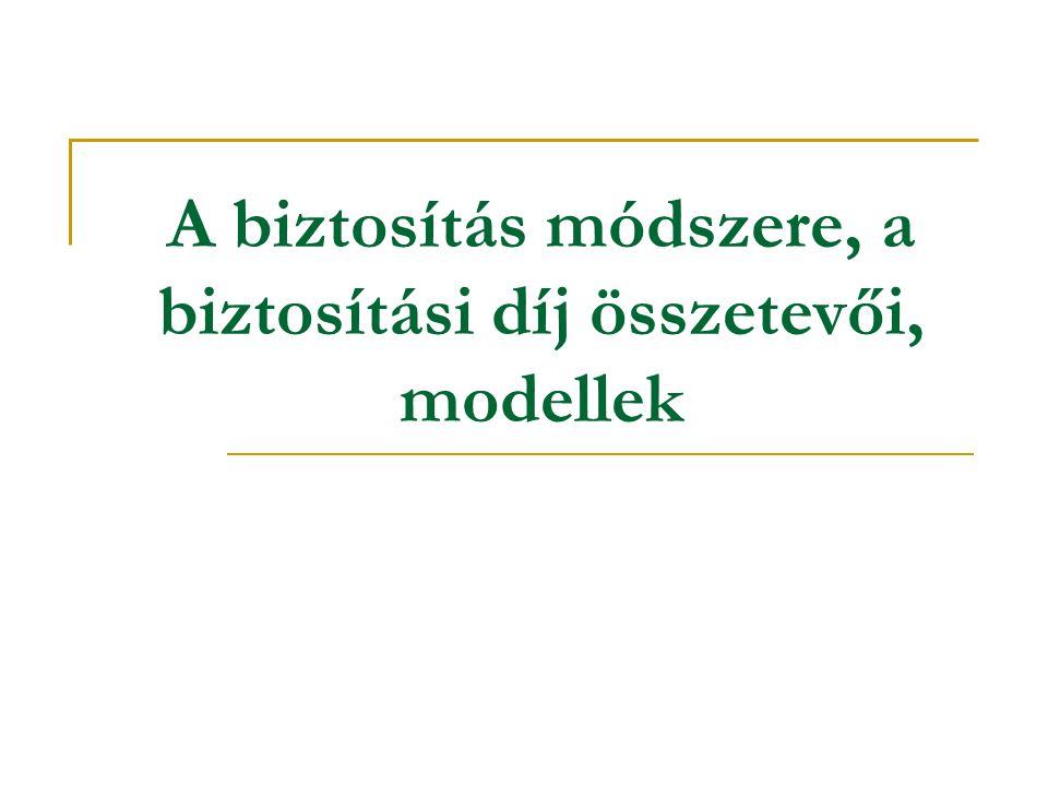 A biztosítás módszere, a biztosítási díj összetevői, modellek