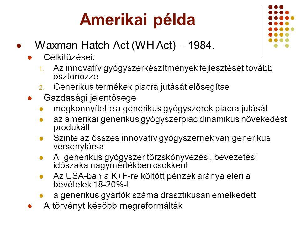 Amerikai példa Waxman-Hatch Act (WH Act) – 1984. Célkitűzései: 1. Az innovatív gyógyszerkészítmények fejlesztését tovább ösztönözze 2. Generikus termé