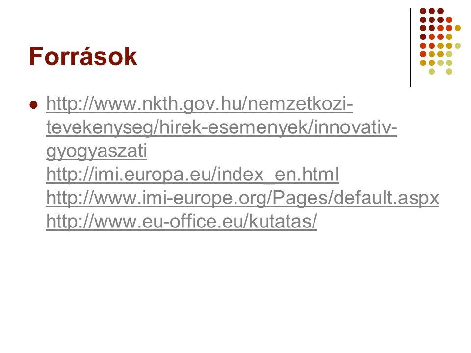 Források http://www.nkth.gov.hu/nemzetkozi- tevekenyseg/hirek-esemenyek/innovativ- gyogyaszati http://imi.europa.eu/index_en.html http://www.imi-europ