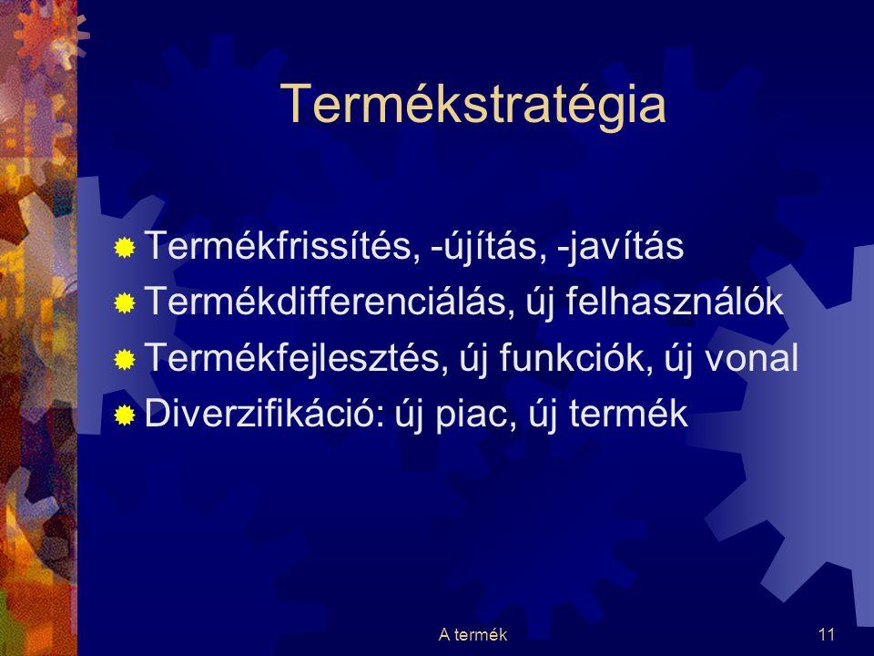 A termék11 Termékstratégia  Termékfrissítés, -újítás, -javítás  Termékdifferenciálás, új felhasználók  Termékfejlesztés, új funkciók, új vonal  Di