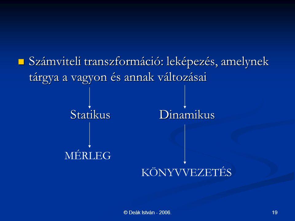 19© Deák István - 2006. Számviteli transzformáció: leképezés, amelynek tárgya a vagyon és annak változásai Számviteli transzformáció: leképezés, amely