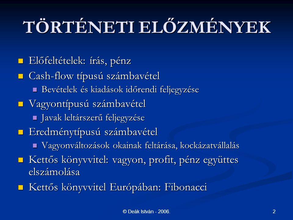 3© Deák István - 2006.TÖRTÉNETI ELŐZMÉNYEK 1494. Pacioli (1445.