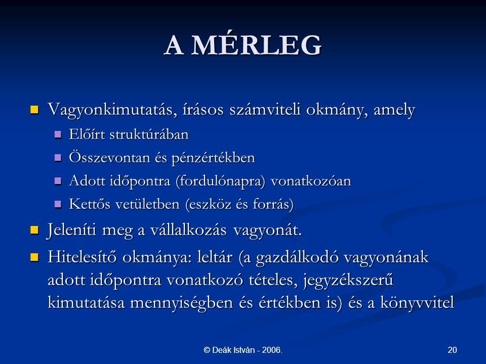 20© Deák István - 2006. A MÉRLEG Vagyonkimutatás, írásos számviteli okmány, amely Vagyonkimutatás, írásos számviteli okmány, amely Előírt struktúrában
