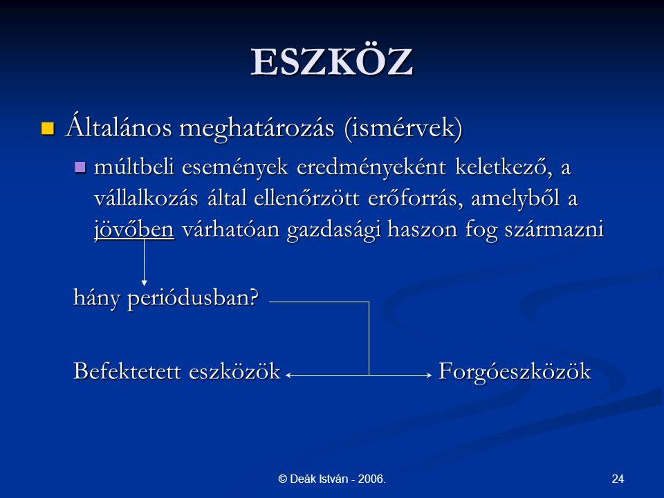 24© Deák István - 2006. ESZKÖZ Általános meghatározás (ismérvek) Általános meghatározás (ismérvek) múltbeli események eredményeként keletkező, a válla