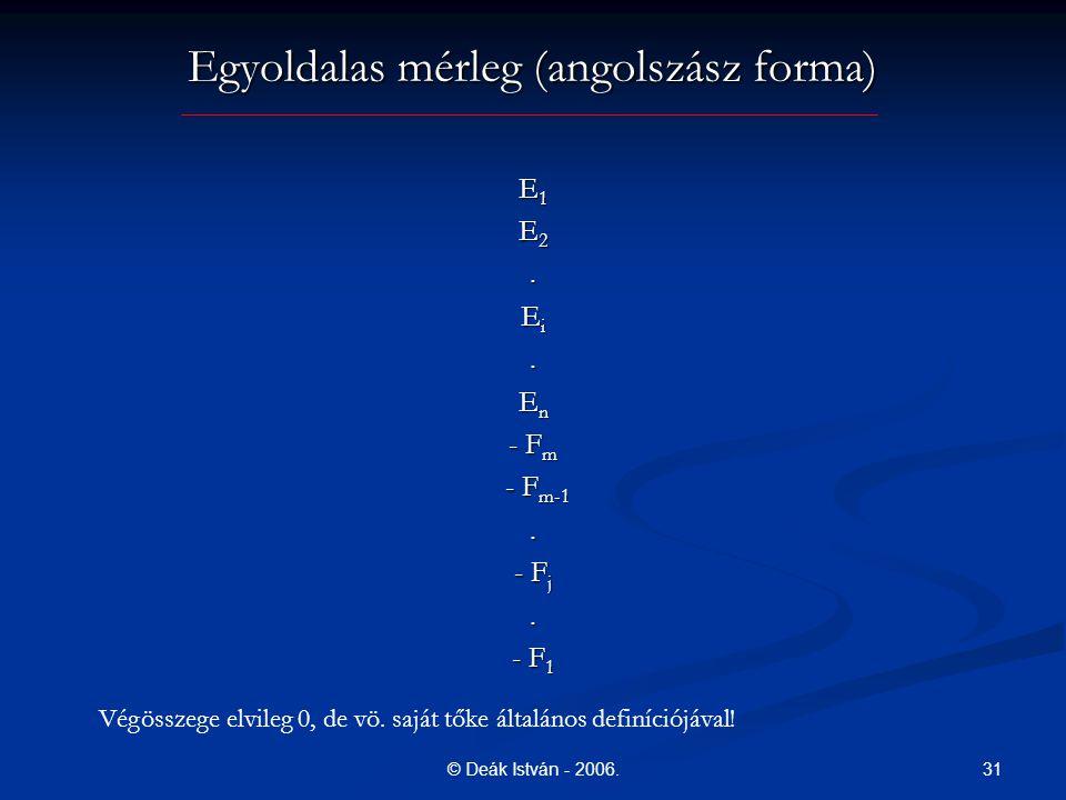 31© Deák István - 2006. Egyoldalas mérleg (angolszász forma) E 1 E 2. E i. E n - F m - F m-1 - F m-1. - F j. - F 1 Végösszege elvileg 0, de vö. saját