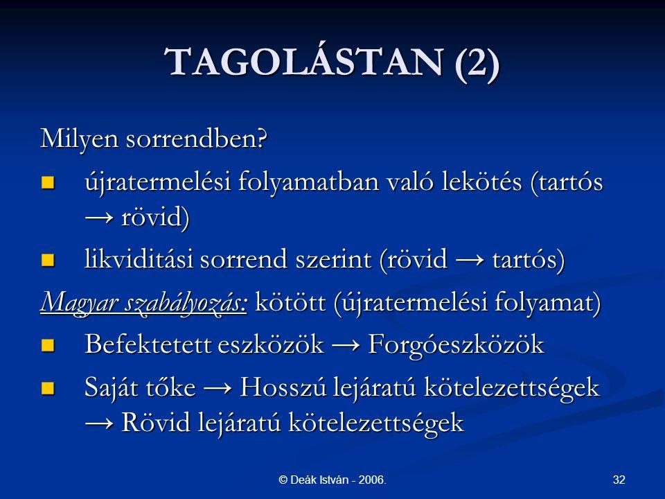 32© Deák István - 2006. TAGOLÁSTAN (2) Milyen sorrendben? újratermelési folyamatban való lekötés (tartós → rövid) újratermelési folyamatban való leköt