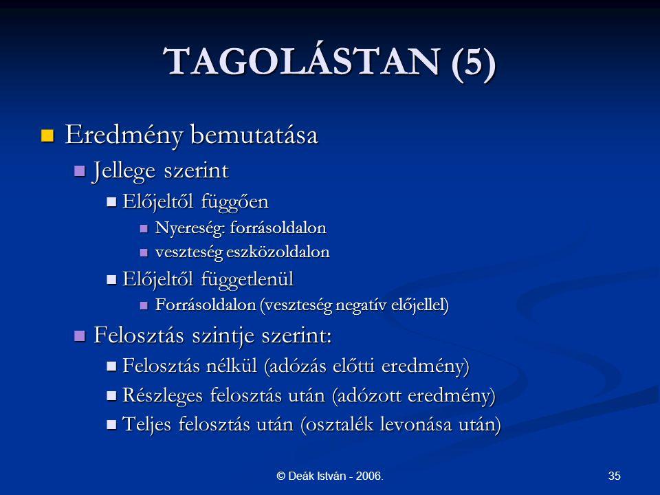 35© Deák István - 2006. TAGOLÁSTAN (5) Eredmény bemutatása Eredmény bemutatása Jellege szerint Jellege szerint Előjeltől függően Előjeltől függően Nye