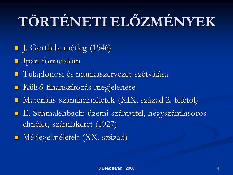 4© Deák István - 2006. TÖRTÉNETI ELŐZMÉNYEK J. Gottlieb: mérleg (1546) J. Gottlieb: mérleg (1546) Ipari forradalom Ipari forradalom Tulajdonosi és mun