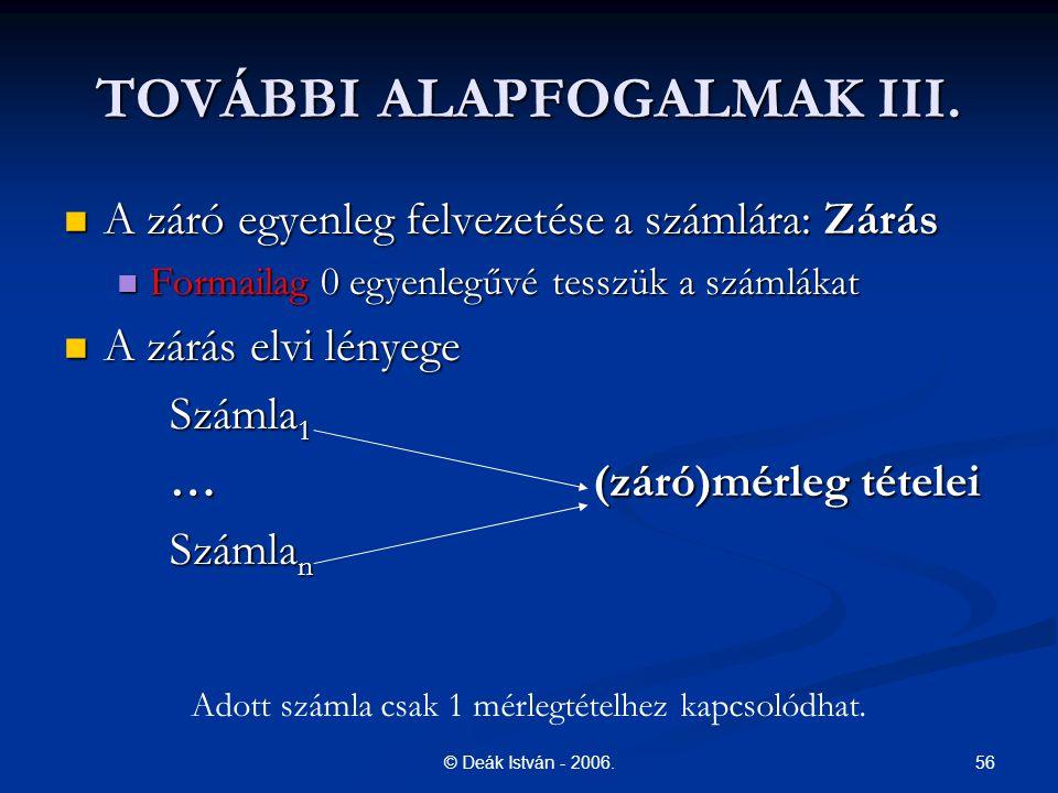56© Deák István - 2006. TOVÁBBI ALAPFOGALMAK III. A záró egyenleg felvezetése a számlára: Zárás A záró egyenleg felvezetése a számlára: Zárás Formaila