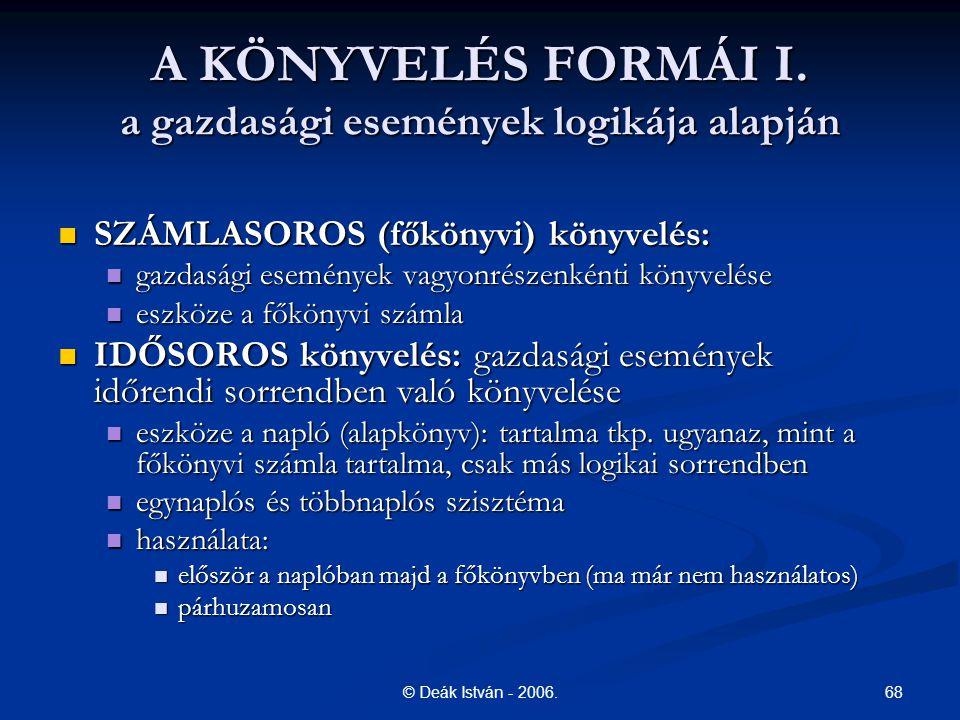 68© Deák István - 2006. A KÖNYVELÉS FORMÁI I. a gazdasági események logikája alapján SZÁMLASOROS (főkönyvi) könyvelés: SZÁMLASOROS (főkönyvi) könyvelé
