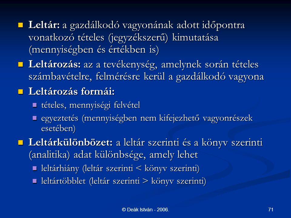 71© Deák István - 2006. Leltár: a gazdálkodó vagyonának adott időpontra vonatkozó tételes (jegyzékszerű) kimutatása (mennyiségben és értékben is) Lelt